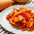 バターナッツかぼちゃのバジルチーズ炒め(調理時間5~10分)
